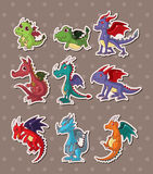 Fire dragon stickers. Cartoon vector illustration Royalty Free Stock Photos