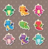 Fire dragon stickers. Cute cartoon vector illusttration Stock Photo