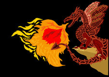 Fire Dragon (Vector). Illustration of dragon breathing fire Stock Photos