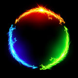 Fire dragons in circle. Three fire dragons making colorful circle on black background Stock Photos