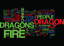 Fire Dragons Word Cloud Concept. Fire Dragons Text Background Word Cloud Concept Stock Images