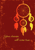 Fire dream catcher. Image of dream catcher on grungy background Stock Photo