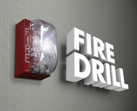 Fire Drill Alarm Emergency 3d Words. Fire Drill words in 3d letters as a light or siren goes off in an emergency trial run to be prepared and ready for real Stock Photography