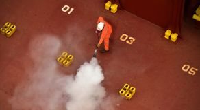 Fire drill on board a ship stock photos