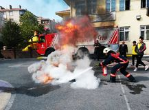 Fire emergency rescue at school in Turkey Royalty Free Stock Photos