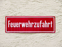 Fire driveway sign (2) germany Royalty Free Stock Image