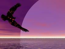 Fire Eagle Ascending. Towards an enormous moon Royalty Free Stock Photos