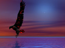Fire Eagle Blue. Fire eagle descending in a surreal sky Stock Image