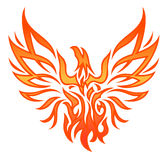 Fire Eagle Tattoo. Flame phoenix silhouette on white bg Royalty Free Stock Photography