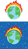 Fire Earth. The planet earth on fire Stock Image