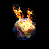 Fire earth planet. On black Royalty Free Stock Photo