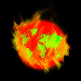 Fire earth. The world today. Which heat up every day Stock Image