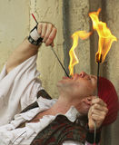 A Fire-Eater at the Arizona Renaissance Festival Royalty Free Stock Images