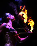 Fire eater and dancer. Blowing out flame in Nice France Stock Photography