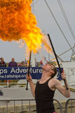 Fire Eater. Male Fire Eater performs for the public at an event in Blyth, Northumberland, England, UK Stock Photos