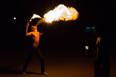 Fire-eater performance on a street Stock Photography
