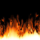 Fire from edge of image / black background. Royalty Free Stock Image