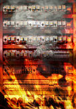 Fire on electric board. Overloaded electrical circuit causing electrical short and fire Royalty Free Stock Photos