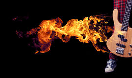 Fire electric guitar. Stock Photo
