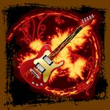Fire electric guitar Stock Images