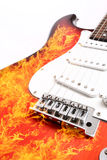 Fire electric guitar Royalty Free Stock Photos