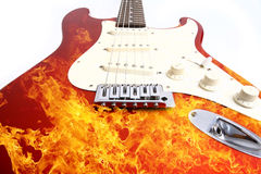 Fire electric guitar Stock Photos