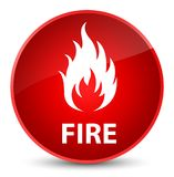 Fire elegant red round button. Fire isolated on elegant red round button abstract illustration Royalty Free Stock Images