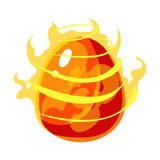 Fire Element Egg With Flames, Fantastic Natural Element Egg-Shped Bright Color Vector Icon. Video Game Template Item For Magic Flash Game Design Constructor Stock Photos