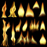 Fire elements. Set of editable  flames made with gradient meshes Royalty Free Stock Images