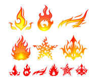 Fire Elements. 6 alternatives fire symbol for designers Royalty Free Stock Photos