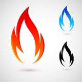 Fire elements. Simple fire elements in red, blue and black colors Royalty Free Stock Photography