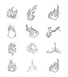 Fire Elements Outline Vector Set Royalty Free Stock Photography