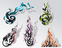 Fire elements set. Set of five colorful fire decorative elements Stock Photo