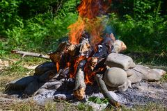 Bonfire and ember Royalty Free Stock Photography