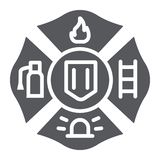 Fire emblem glyph icon, symbol and firefighter, fire badge sign, vector graphics, a solid pattern on a white background. Fire emblem glyph icon, symbol and royalty free illustration