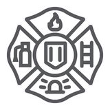 Fire emblem line icon, symbol and firefighter, fire badge sign, vector graphics, a linear pattern on a white background. Fire emblem line icon, symbol and vector illustration