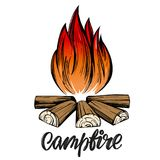 Fire emblem, rest in the forest, camping calligraphic text, emblem sign, hand drawn vector illustration sketch.  Stock Photography