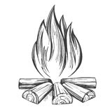 Fire emblem, rest in the forest, camping hand drawn vector illustration realistic sketch.  Stock Photo