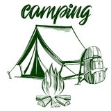 Fire emblem, rest in the forest, camping hand drawn vector illustration realistic sketch.  Stock Images
