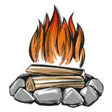 Fire emblem, rest in the forest, camping hand drawn vector illustration realistic sketch.  Stock Photos