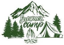 Fire emblem, rest in the forest, camping hand drawn vector illustration realistic sketch.  Stock Photography