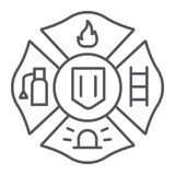 Fire emblem thin line icon, symbol and firefighter, fire badge sign, vector graphics, a linear pattern on a white. Background, eps 10 vector illustration