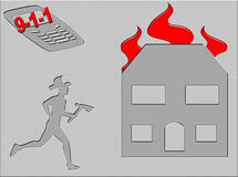 Fire Emergency. Graphic showing a response call to a house fire Stock Photography