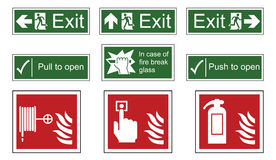 Fire and Emergency Exit Signs Stock Photography