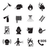Fire emergency icons set. Black on a white background Royalty Free Stock Image