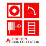 Fire emergency icons set. Signs of fire safety: fire hydrant, fire escape, fire alarm button, fire water source. Fire emergency icons set. Fire signs and stock illustration