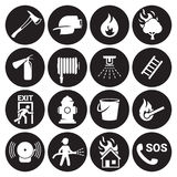 Fire emergency icons set. White on a black background Royalty Free Stock Photos