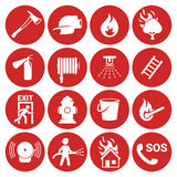 Fire emergency icons set. White on a red background Royalty Free Stock Photography