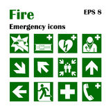 Fire emergency icons. Vector illustration. Fire exit. Vector fire emergency icons. Signs of evacuations. Fire emergency exit in green, assembly point Royalty Free Stock Images