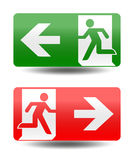 Fire emergency icons. Vector illustration. Fire exit. Stock Image